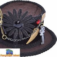 STEAMPUNK HALLOWEEN MINI CLIP ON TOP HAT - womens ladies fancy dress accessory