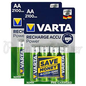 8 x Varta AA 2100mAh batteries Rechargeable Ni-MH 1.2V HR6 LR6 Stilo Accu Power