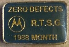 Motorola rare lapel pin 1988 Month Zero Defects RTSG green gold logo telecom