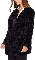 BB Dakota Women's Jacket Black Size Large L Open Front Faux Fur $135 #032