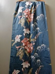 Vintage on trend Blue floral oriental curtains lined 42 w x 56 d interior home