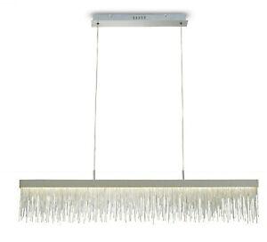 Crystal Hanging Chrome Bar LED Linear Dining Table Pendant 33W LED, 3000K 3300lm