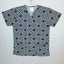 Allheart V-Neck  Womens White Black Red Geometric Floral Print Scrub Top Sz XS