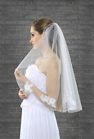 Bridal Veil Elbow Length Pencil Edge Decorated with Lace Motif VK-26