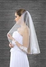 """Nuevo 1 niveles blanco marfil de boda nupcial Codo Velo Con Peine & Lace Edge 28"""""""