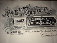 1909 Continental carriage  Buggies Cincinnati Ohio Letterhead Niehaus BEER