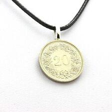 Collier pièce de monnaie Suisse 20 centimes Tête de Libertas