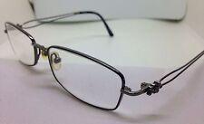 TURA Rx Eyeglasses Mod R207 52/16/135 Gunmetal Rectangular Wire Flower Frames