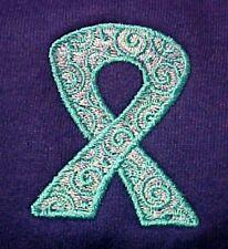 Teal Scrolled Ribbon Hoodie Large Ovarian Cancer Awareness Purple Sweatshirt New