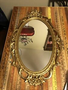 Vintage Mid Century Syroco HOLLYWOOD REGENCY Gold ORNATE Wall Mirror  5114