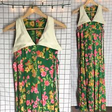Vintage 60s/70s Kelly Arden Floral Bright Huge Collar Maxi Dress