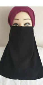 Half Layer Niqab Long Women Burks Veil Muslim Hijab Burqa Islamic Face Cover