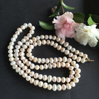 90cm length Genuine 10-12mm  baroque white freshwater pearl very luster necklace