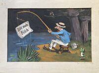 Karikatur Esst mehr Fisch mit Angler und Frosch Temepera 1942 signiert 30 x 39