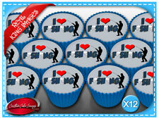 12 I Luv Fishing Edible Icing Image Cupcake Birthday Party Toppers