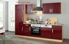 Küchenzeile ohne Geräte Einbauküche ohne Elektrogeräte 280 cm hochglanz rot