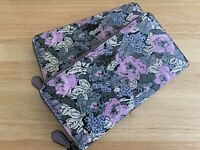 COACH Heritage Accordion Zip Wallet Sig Canvas Flowers Pewter Soft Lilac NEW