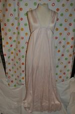 pink  SAN SOUCI Nylon long  night gown  WOMENS SMALL USA made