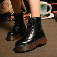 Womens Creeper Platform Lace Up Ankle Boots Knight Punk Motorcycle Shoes Vintage