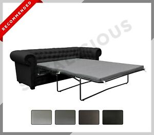 IMPERIAL Chesterfield 3 Seater or 2 Seater SOFA BED Faux Leather Black Grey Brow