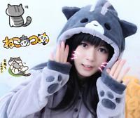 Neko Atsume Cat Backyard Hoodie Women Sweatershirt With Ears Cosplay Costume New