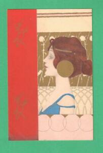 RARE M. MUNK EARLY ART NOUVEAU POSTCARD BEAUTIFUL LADY METAL HAIRPIECE & EARRING