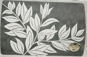 """Set of 2 Vinyl/Foam Back Placemats (12""""x18"""") WHITE LEAVES ON GREY by BH"""