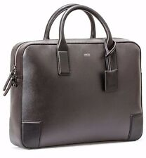 Hugo Boss Dark Brown Saffiano Leather Workbag Briefcase