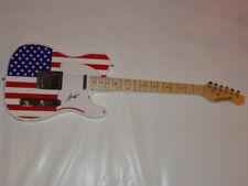 HANK WILLIAMS JR SIGNED USA FLAG ELECTRIC GUITAR LEGEND RARE TELE JR. JSA COA