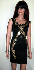 Black Pencil Dress with Metallic Gold Foil Print Sleeveless Summer, Party Size 8