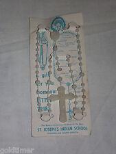 VINTAGE CHRISTIAN CROSS ST JOSEPH'S INDIAN SCHOOL CHAMBERLAIN SD ROSARY BEADS