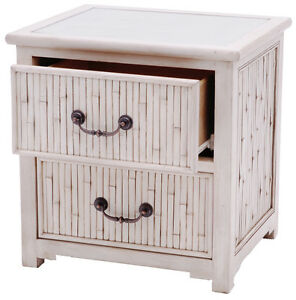 Calais Cane/Slat/Rattan/Wood 2 Drawer Bedside Table / Night table