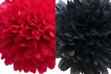 12x 25cm red black tissue paper pom poms flowers wedding party home events decor
