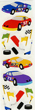 Mrs. Grossman's Stickers - Race Cars - Checkered Flag, Jack, Tires - 4 Strips