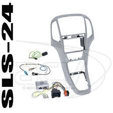 OPEL ASTRA J ab09 SET Doppel-DIN Radioblende + Lenkrad Adapter Alpine Radio silb