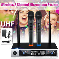 Professional 2CH UHF Wireless Dual Handheld Microphone Mic System LCD Display ,/