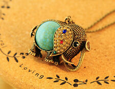 Woman Vintage Turquoise Rhinestone Bronze Elephant Sweater Long chain Necklace