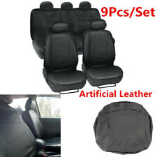 9Pcs/Set PU Leather Universal  Front & Rear Car Seat Covers Protectors Black