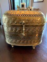 """Antique Turkish Footed Brass Trunk 14""""x14""""x8"""""""