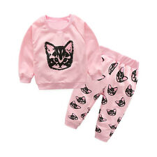 Toddler Baby Kids Girls Long Sleeve Tops Sweater+Long Pants Outfits Tracksuit