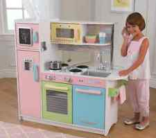 Play Set Pretend Kitchen Pastel Pink Kids Toddler Toy Cooking Game Gift Wooden