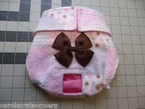 Pink Patches Flannel exchangable Bow Female Dog Diaper Carols Crate Cover