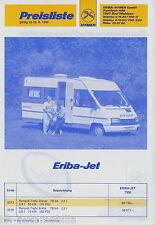 Hymer tarif ERIBA-Jet 25.6.90 1990 prix camping-car Voyage mobile Price List