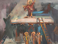 Vintage Abstract Religious Gouache Painting
