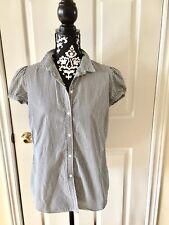 GAP Women's Short Cuffed Sleeve Buttons Front Stripped Shirt - Size 10