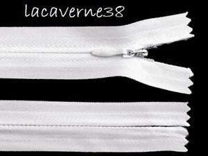 Fermeture éclair invisible 40cm non séparable blanc couture mercerie