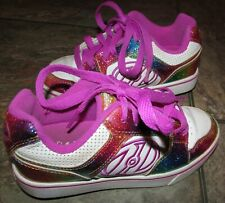 Heelys Motion Plus Skate Roller Shoes White Rainbow Pink Sz Youth 2 #770631