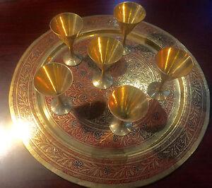 BEAUTIFUL SET OF DECORATIVE  BRASS PLATE AND 6 GLASS ASIAN NEW