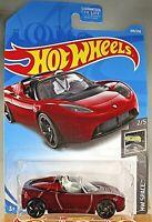 2019 Hot Wheels #109 HW Space 2/5 TESLA ROADSTER With STARMAN Dark Red w/BlkRASp
