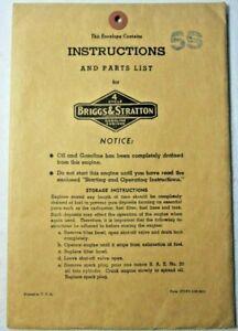 Vntg.1951 5S Briggs & Stratton Operating Inst.Parts Manual W/Orig.Env.Literature